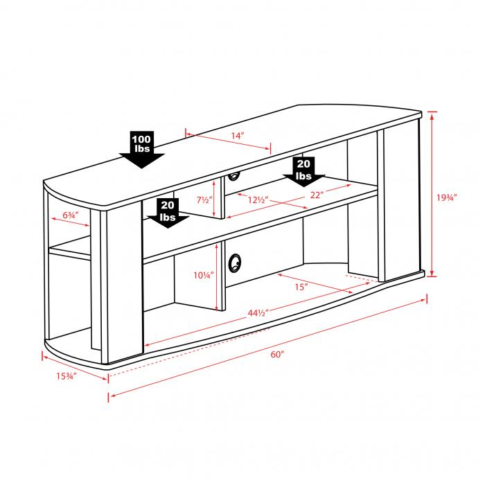 Prepac 60-inch TV Stand dimensions and weights