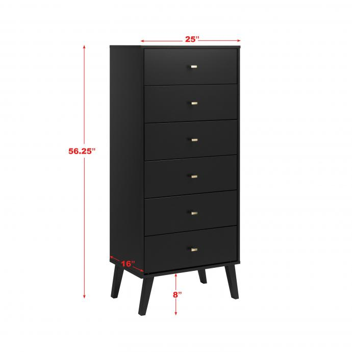 dimensions for tall 6-drawer chest