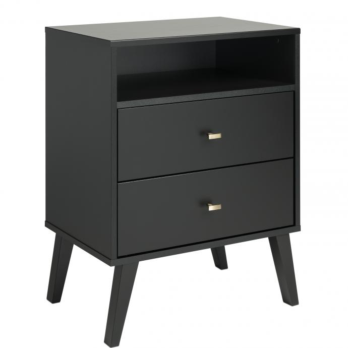Milo 2-drawer Tall Nightstand with Open Shelf