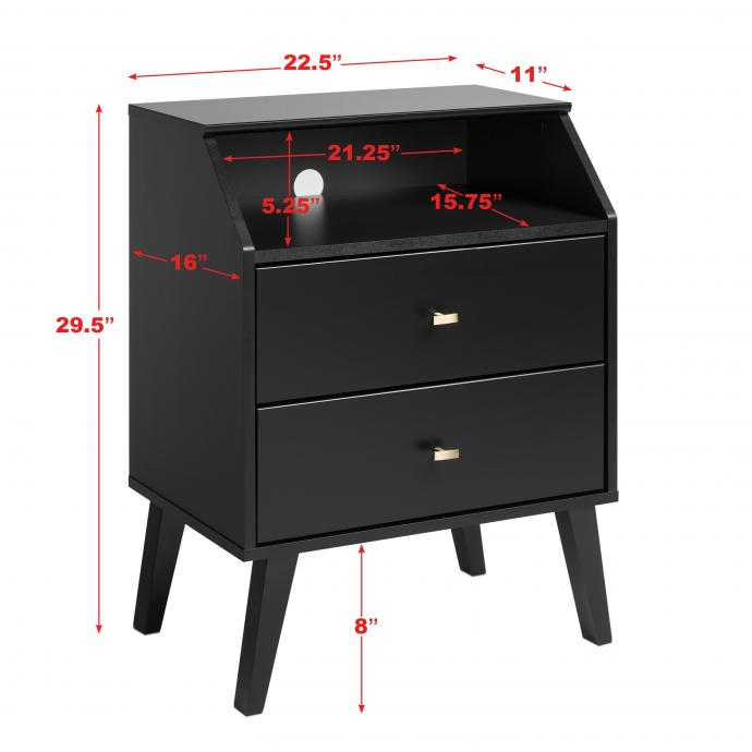 dimensions for 2-drawer angled nightstand