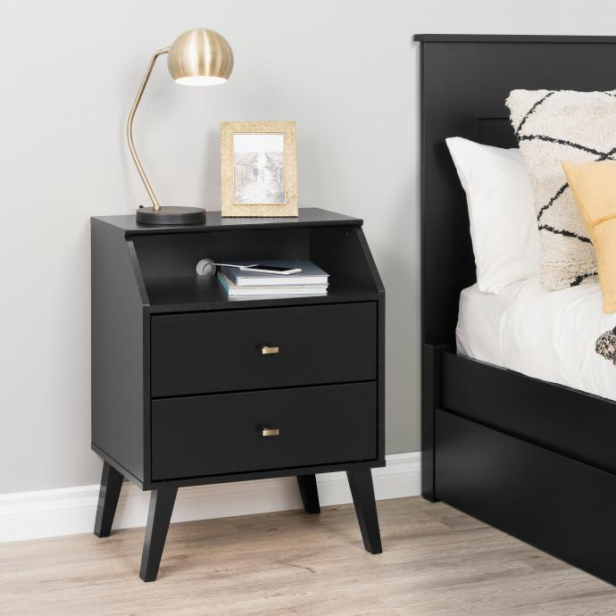 2-drawer nightstand with angled top