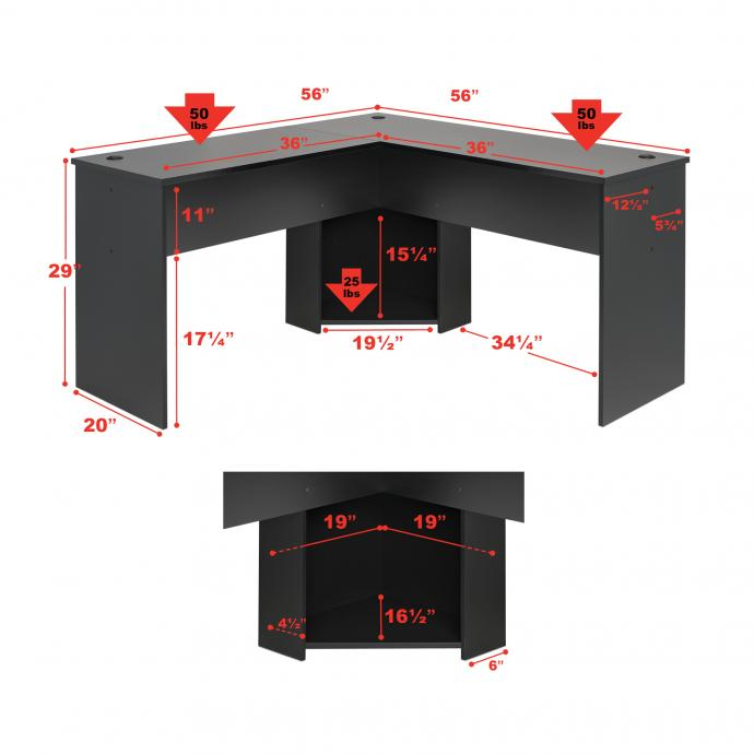 Black L-shaped Desk dimensions