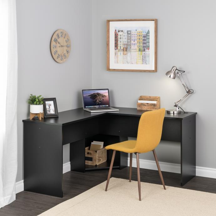 Black L-shaped Desk in Corner