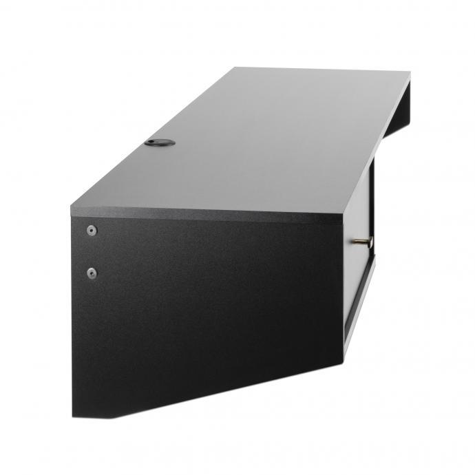 Black Modern Floating Desk with Drawer left side