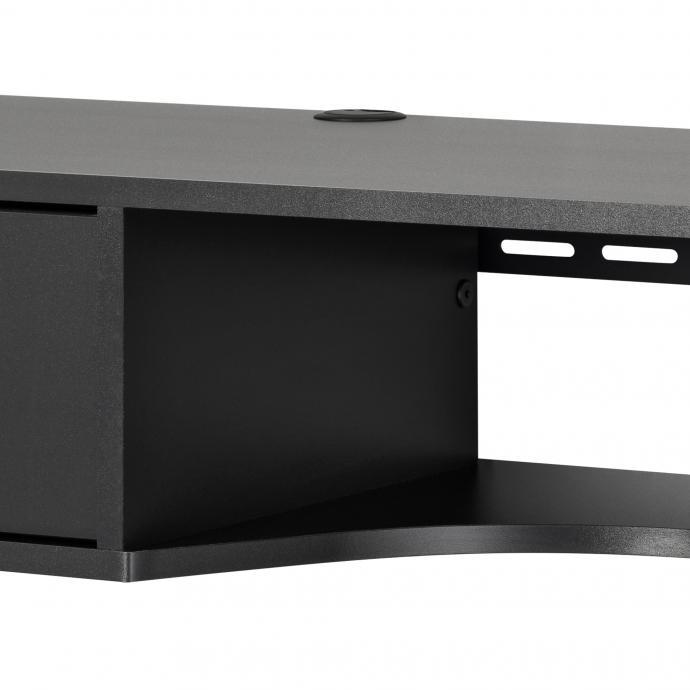 Black Modern Floating Desk with Drawer detail