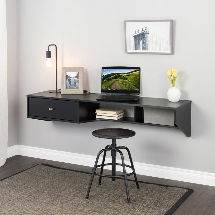 Black Modern Floating Desk with Drawer