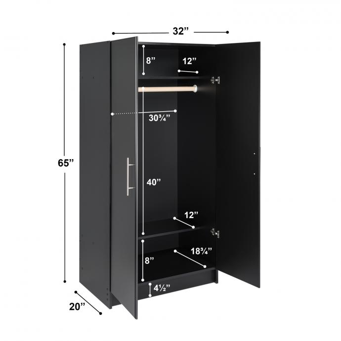 Black Elite Wardrobe Cabinet dimensions