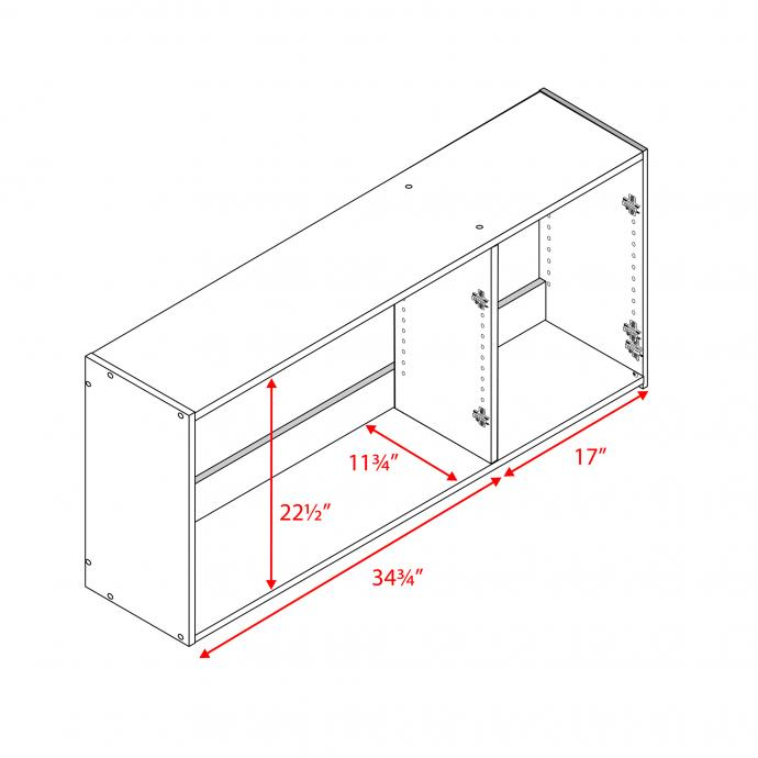 Elite 54 inch Wall Cabinet inside dimensions