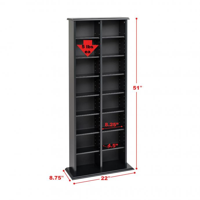 Double Wide Media Storage Tower with dimensions
