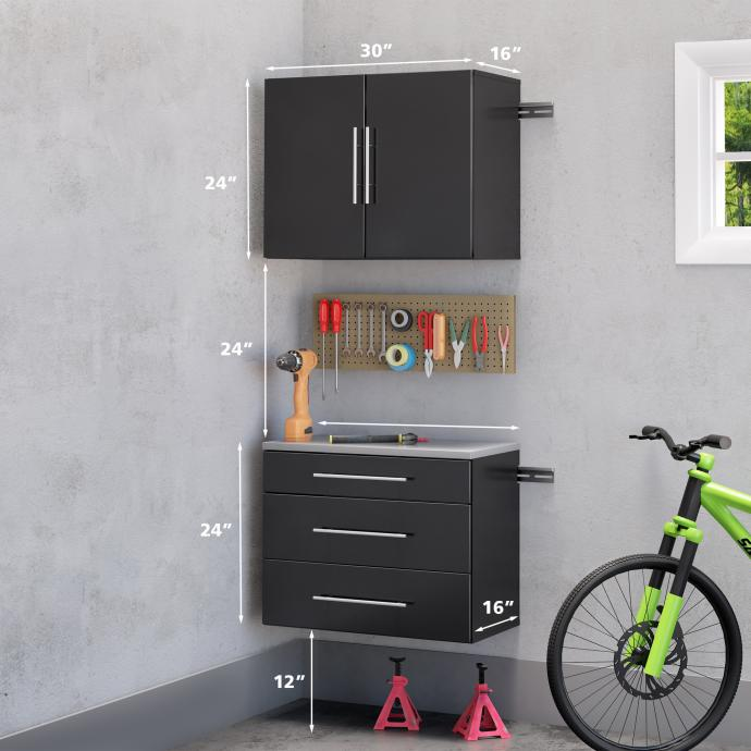 """HangUps 30"""" Storage Cabinet Set A - 2pc with dimensions"""