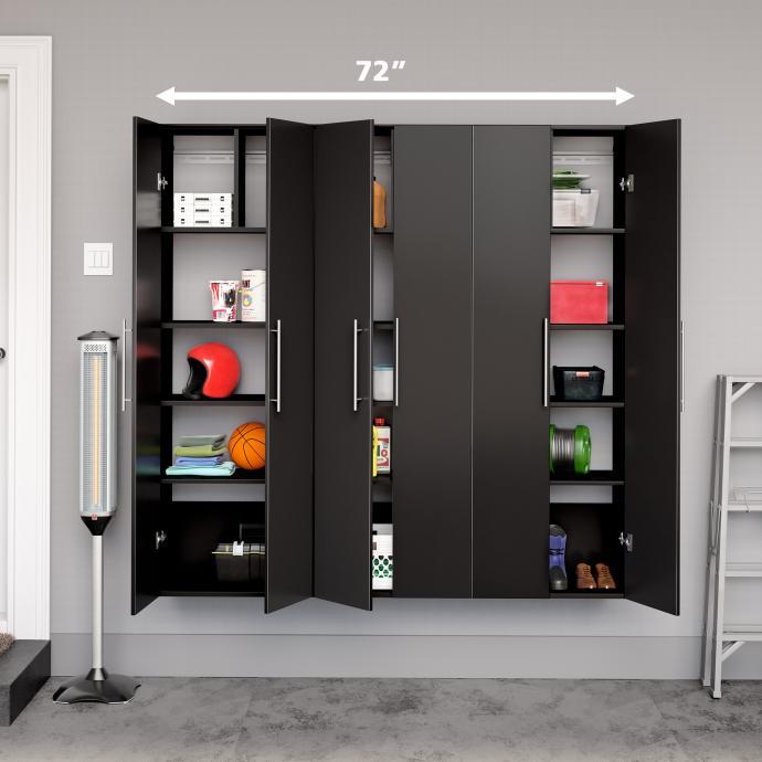 "Black HangUps 72"" Storage Cabinet Set C - 3pc with dimensions"