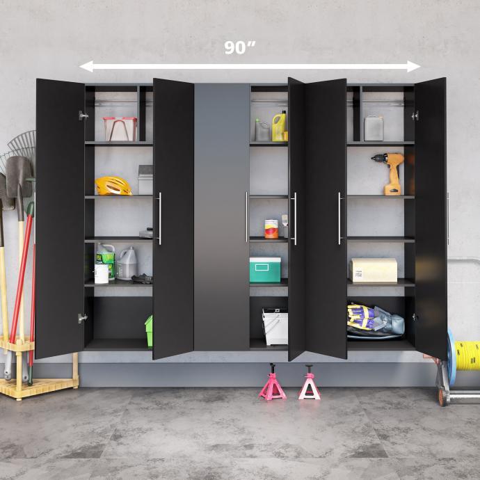 "Black HangUps 90"" Storage Cabinet Set D - 3pc with dimensions"