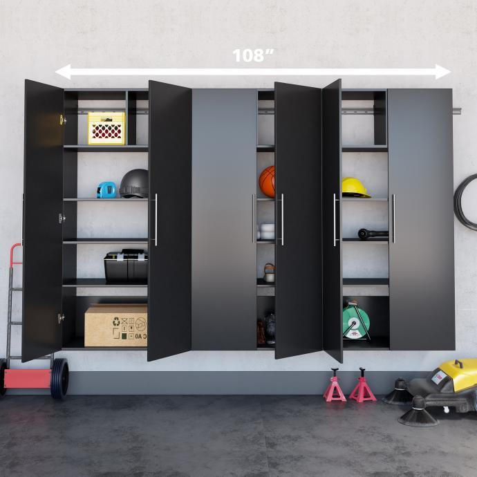"Black HangUps 108"" Storage Cabinet Set E - 3pc with dimensions"