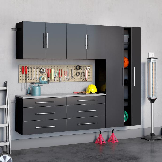 "Black HangUps 90"" Storage Cabinet Set H - 5pc"