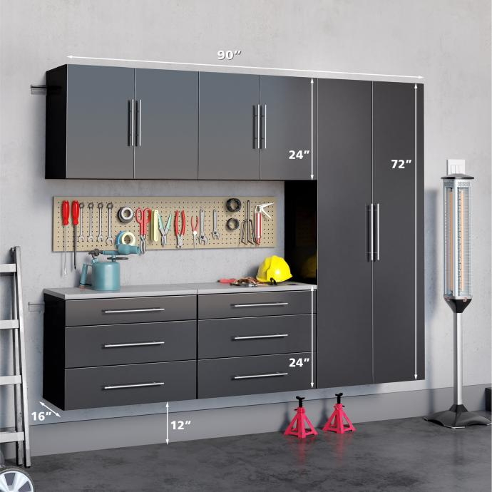 "Black HangUps 90"" Storage Cabinet Set H - 5pc with dimensions"