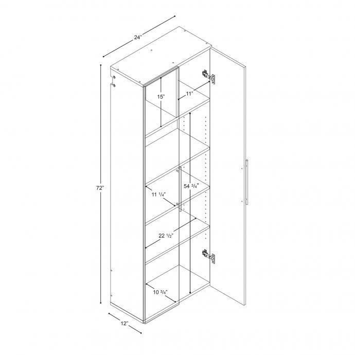"HangUps 24"" Large Storage Cabinet, Black dimensions"