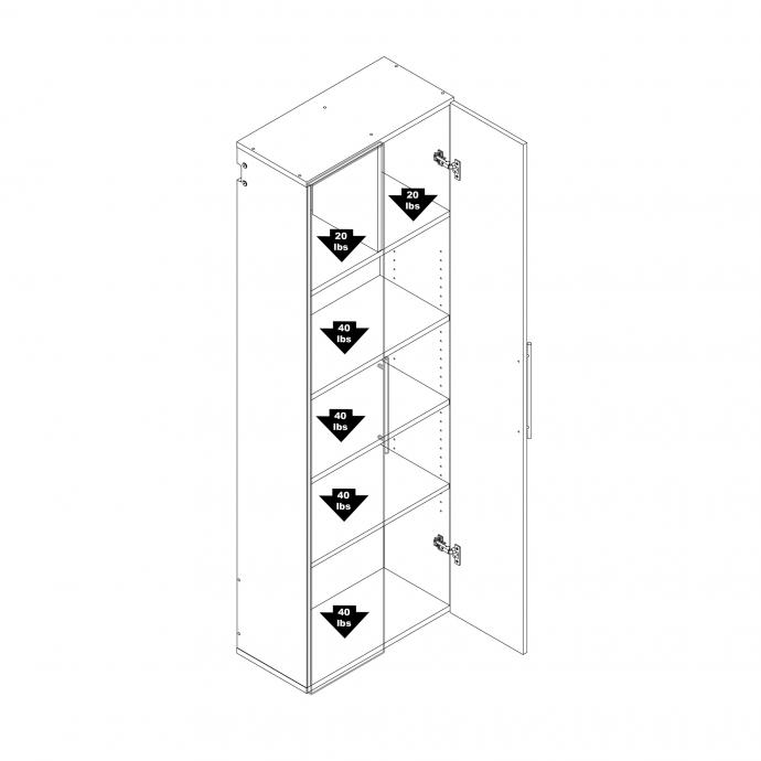 "HangUps 24"" Large Storage Cabinet, Black weight capacity"