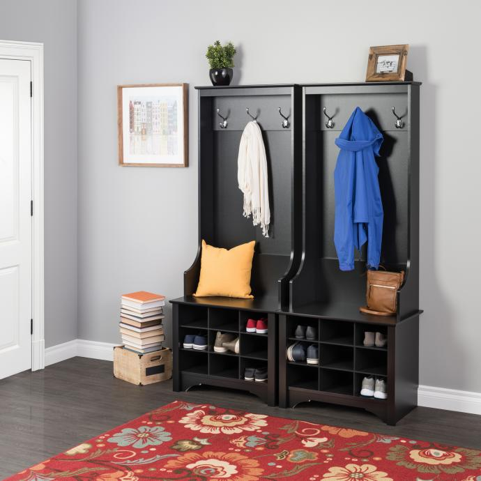 Black Narrow Hall Tree with 9 shoe cubbies pair of 2