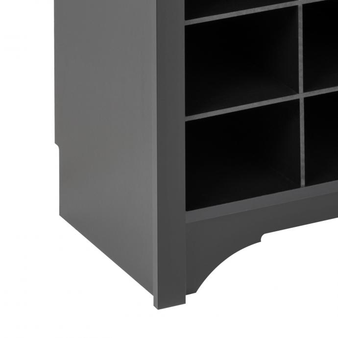 Black Narrow Hall Tree with 9 Shoe Cubbies detail