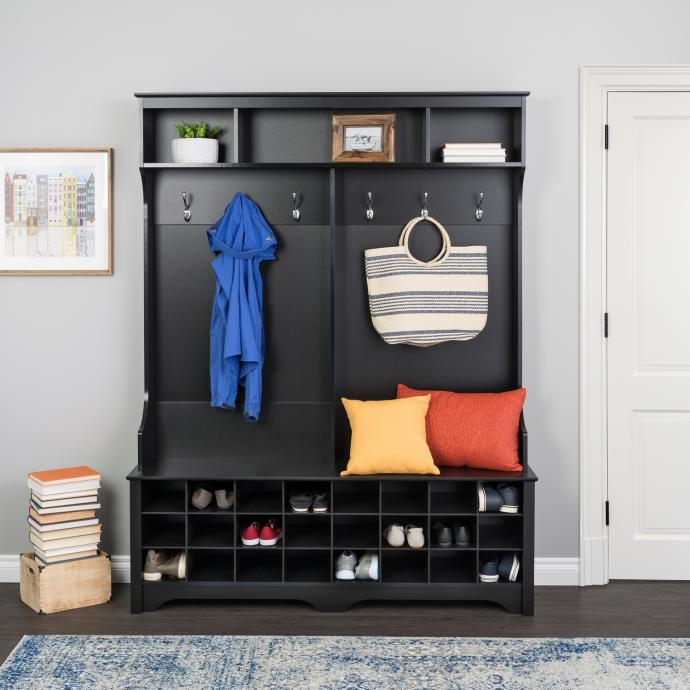 """Black 60"""" Wide Hall Tree with 24 Shoe Cubbies"""