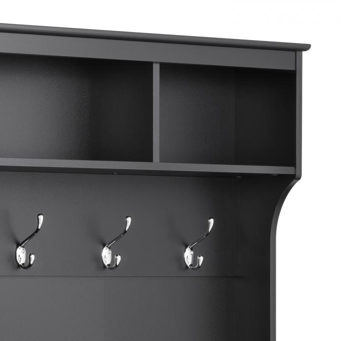 """Black 60"""" Wide Hall Tree with 24 Shoe Cubbies detail"""
