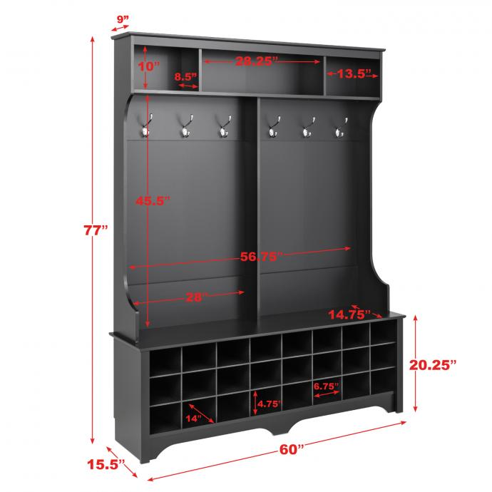 """Black 60"""" Wide Hall Tree with 24 Shoe Cubbies dimensions"""