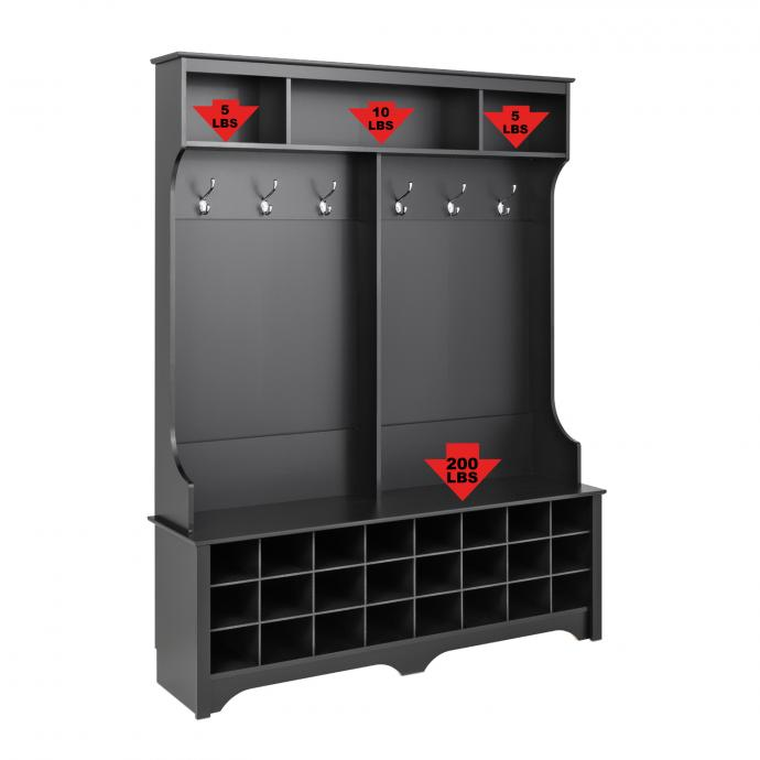 """Black 60"""" Wide Hall Tree with 24 Shoe Cubbies weight capacity"""