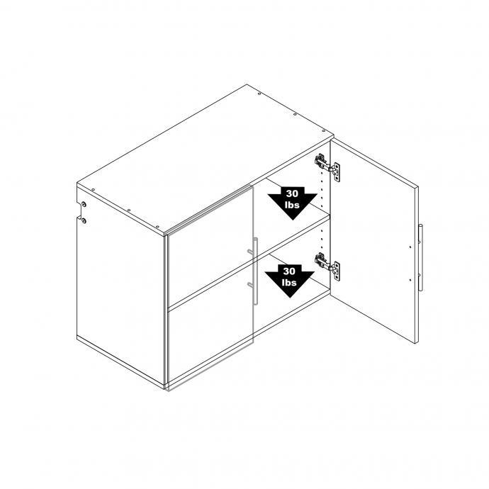 "HangUps 30"" Upper Storage Cabinet weight capacity"