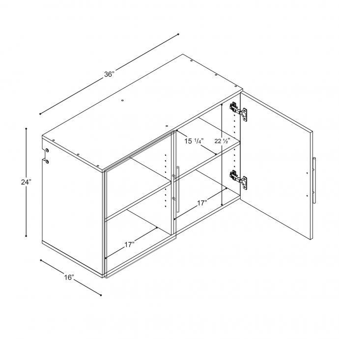 "Black HangUps 36"" Upper Storage Cabinet dimensions"