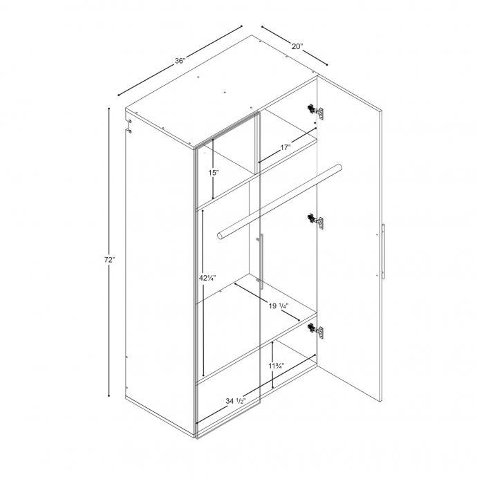 Black HangUps Wardrobe Cabinet Dimensions
