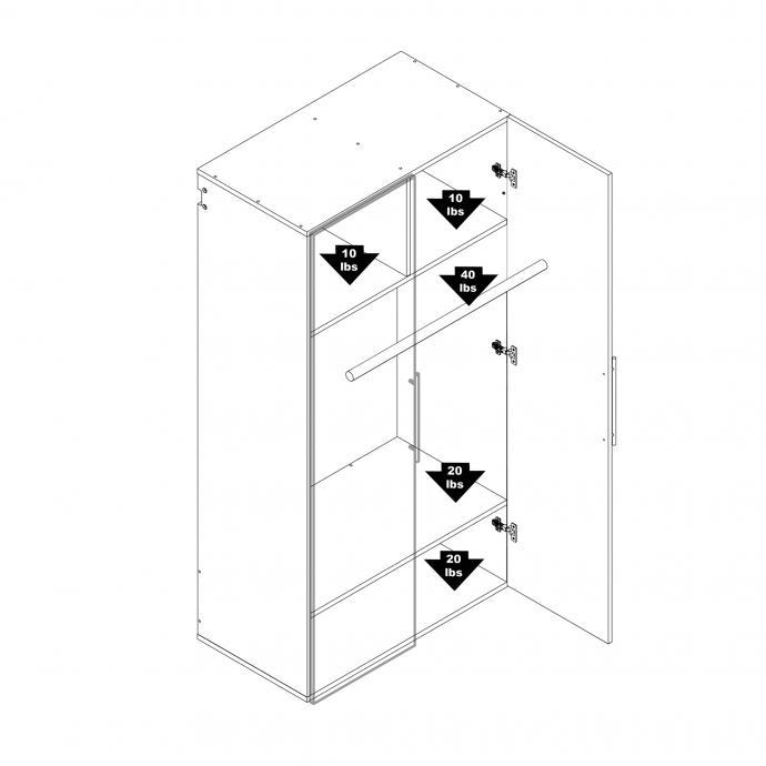 Black HangUps Wardrobe Cabinet Weight Capacity