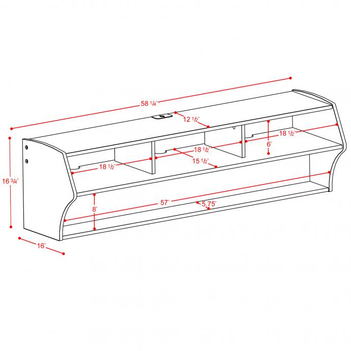 """Altus 58"""" Wall Mounted Console Dimensions"""