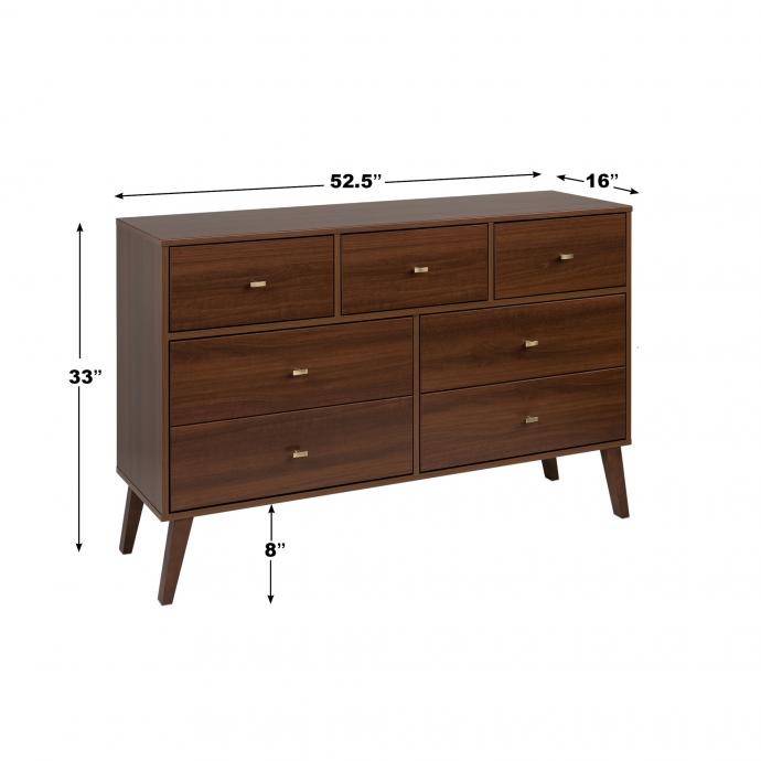 Milo 7 Drawer Dresser, Cherry Dimensions