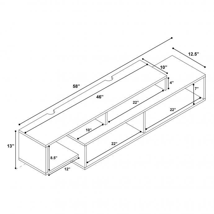 Modern Wall Mounted Media Console & Storage Shelf dimensions