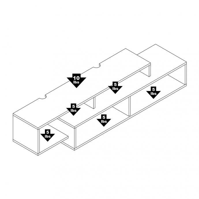 Modern Wall Mounted Media Console & Storage Shelf weight capacity
