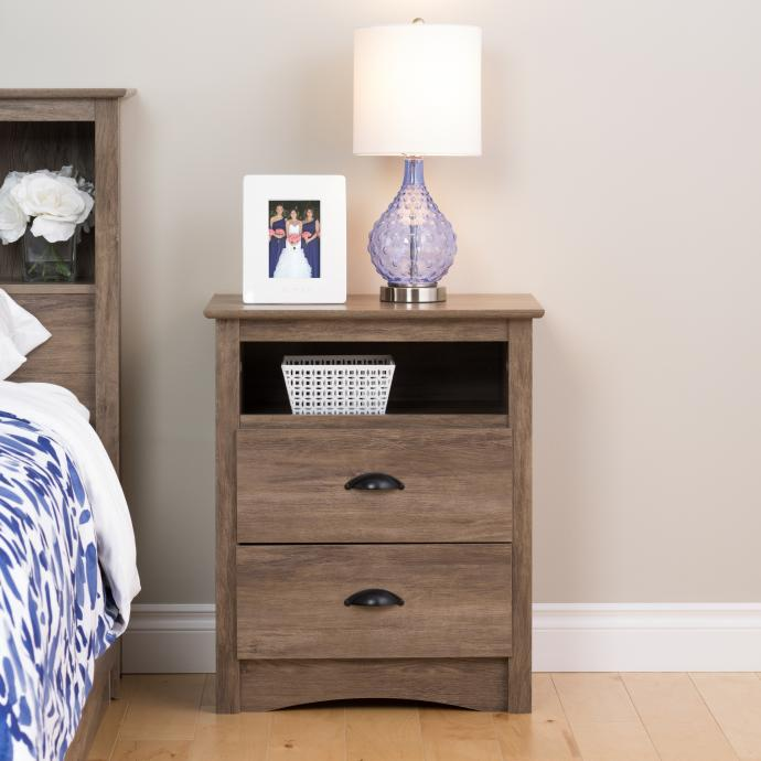 Sonoma Tall 2 Drawer Nightstand With Open Shelf Prepac Mfg