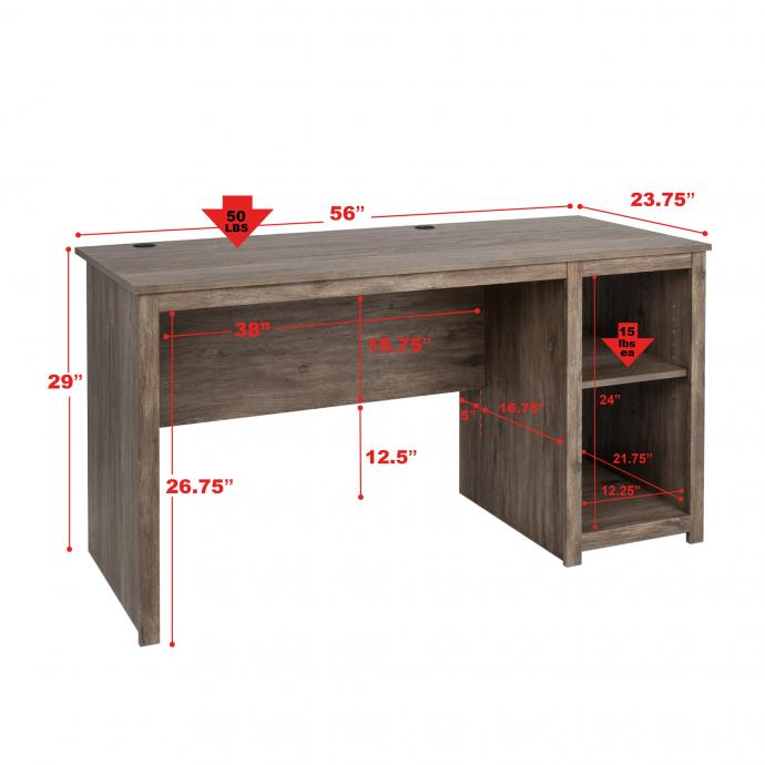 Sonoma Home Office Desk, Drifted Gray with dimensions
