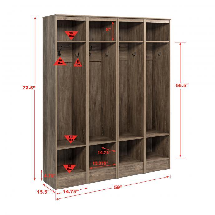 Narrow Entryway Locker, Set of 4 - dimensions