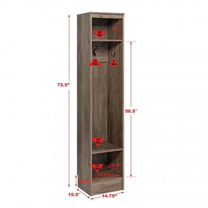 Drifted Gray Narrow Entryway Locker, dimsnsions