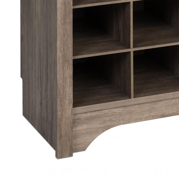 """60"""" Shoe Cubby Console, Drifted Gray detail"""