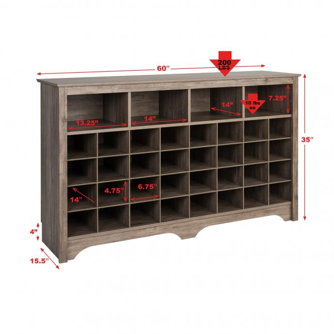 """60"""" Shoe Cubby Console, Drifted Gray with dimensions"""
