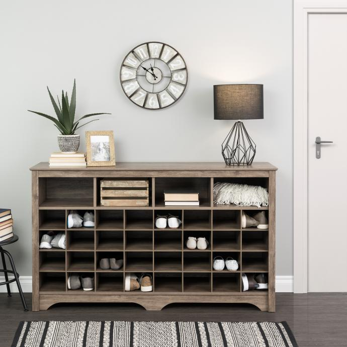"""60"""" Shoe Cubby Console, Drifted Gray"""