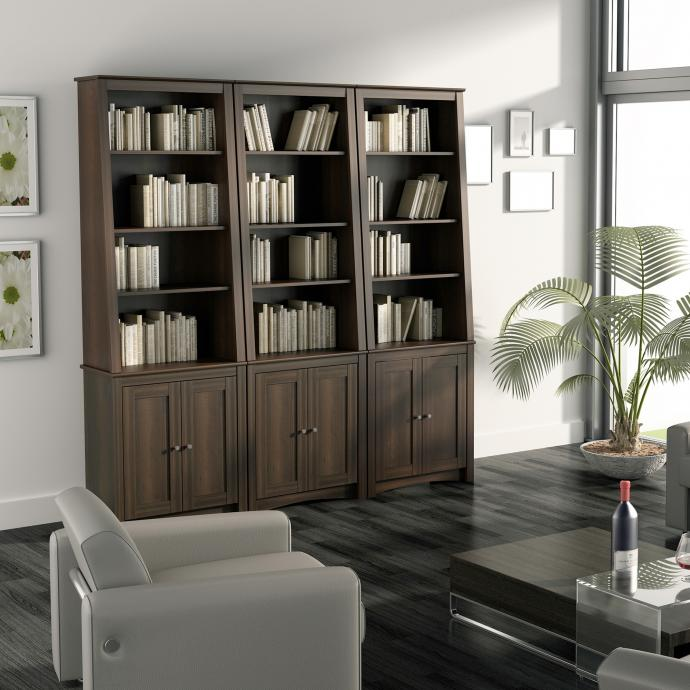 Slant Back Bookcase with Doors