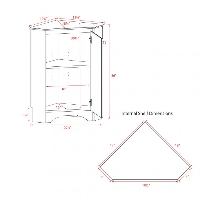 Short Corner Cabinet with 1 Door Dimensions