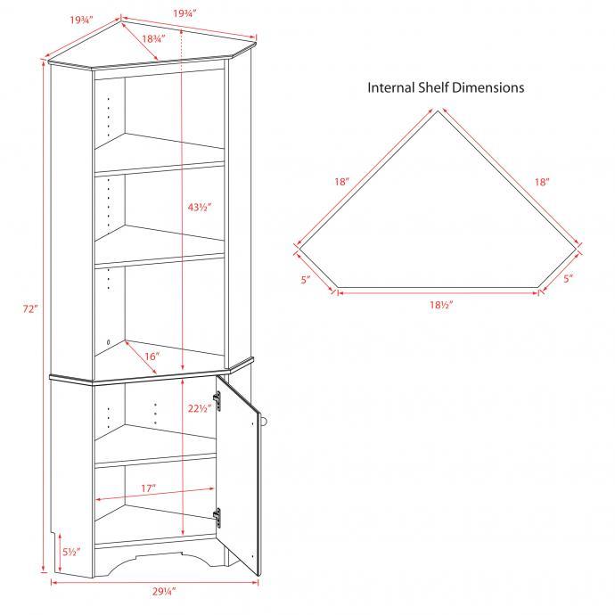 Corner Cabinet with 1 Door Dimensions