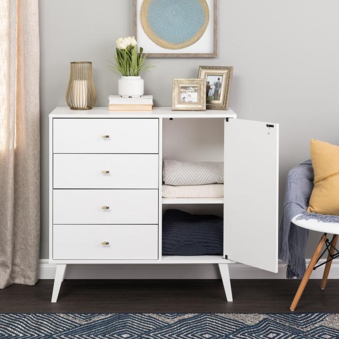 Milo 4-drawer Chest with Door - linens