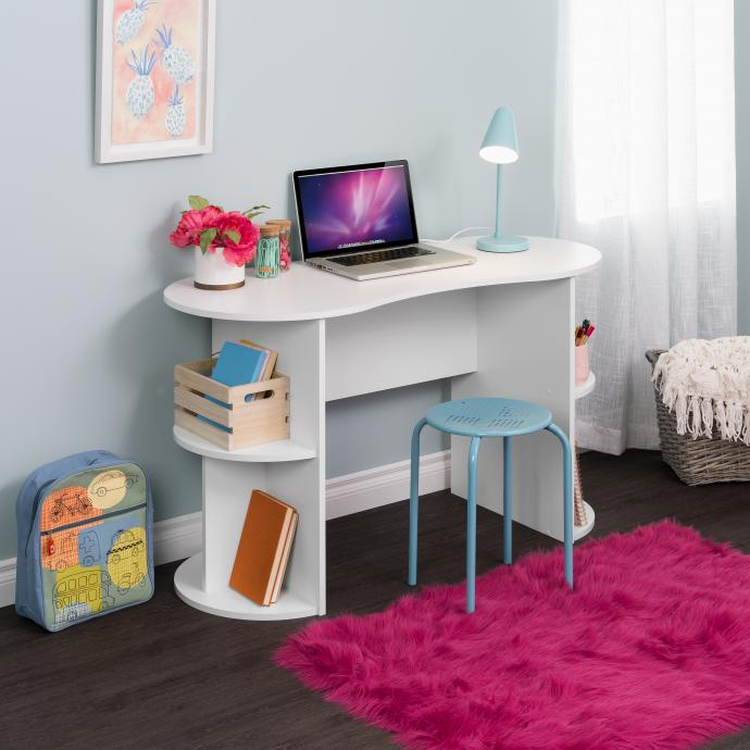 Kurv Compact Student Desk with Storage, White