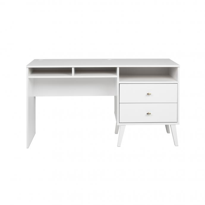 Milo Desk with Side Storage & 2 Drawers, White