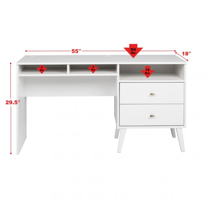 Milo Desk with Side Storage & 2 Drawers with weights, White