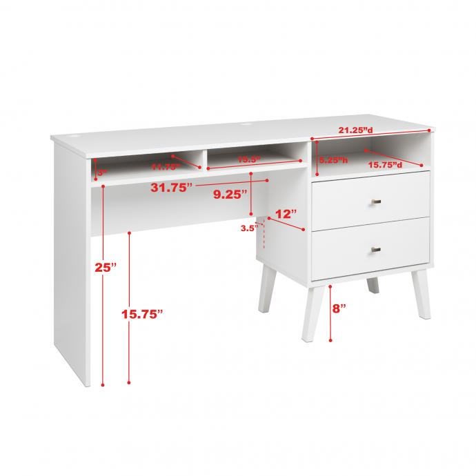 Milo Desk with Side Storage & 2 Drawers with dimensions, White